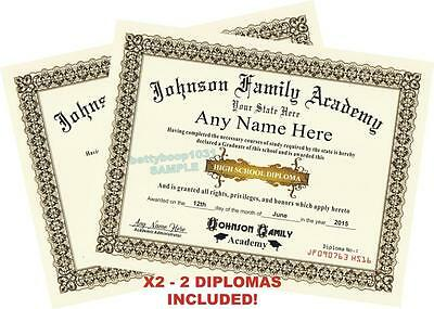 Home School High School Diploma / Certificates X2 - *CUSTOM W YOUR NAME & INFO*