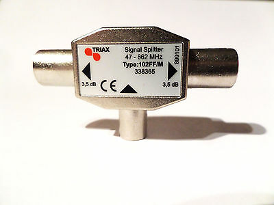 TV Aerial Metal Coaxial Signal Splitter - 2 Way 1 male to 2 feMale Coax NEW