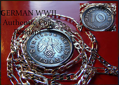 "1940-1944 German WWII Battle Recovery Coin Pendant on a 30"" 925 Silver Chain"
