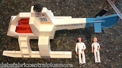 Vintage 1974 Fisher Price Rescue Helicopter 305 RARE Medical Team Figures