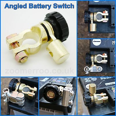 Battery Isolator Switch Cut Off NEGATIVE Angled Universal - Space Saver - Quick