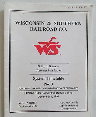 Wisconsin & Southern Railroad 1997 Employee Timetable #3