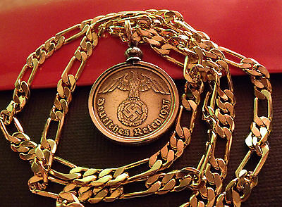 "1937-1939 German Brass Eagle Bezel Pendant 24"" Gold Filled Figaro Chain"