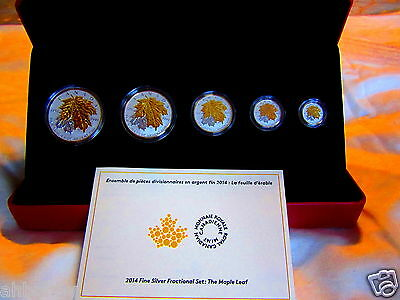 Canada 2014 Fine Silver Fractional Set - Maple Leaf - Reverse Proof Gold Plated