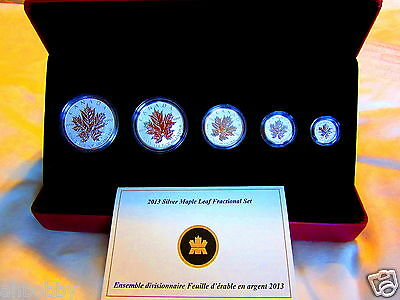 Canada 2013 Fine Silver Fractional Set - Maple Leaf - RARE Reverse Proof