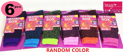 6x Unisex Heated Socks Heat Thermal Sock UK 4-8 Warm Work Boot RandomColor
