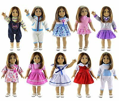 """New 10 PCS Doll Clothes Party Dress/Outfit/Skirt For 18"""" inch American Girl Doll"""