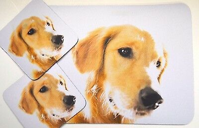 3 pc Set Dog Lover Mouse Pad 9x7 +2 Coasters GOLDEN RETRIEVER Puppies Nice Gift
