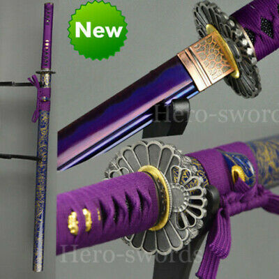 Purple Blade Japanese Samurai Sword Handmade Full Tang Katana Sharp Grid Tsuba
