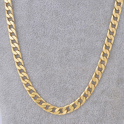 """18K Yellow Gold Filled Link Cuban Chain Necklace 24"""" 7mm Thick Men's Jewelry"""