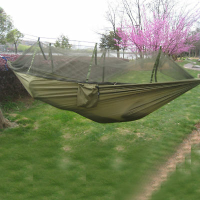Portable Travel Camping Outdoor Hammock Hanging Nylon Hang Bed w/ Mosquito Net