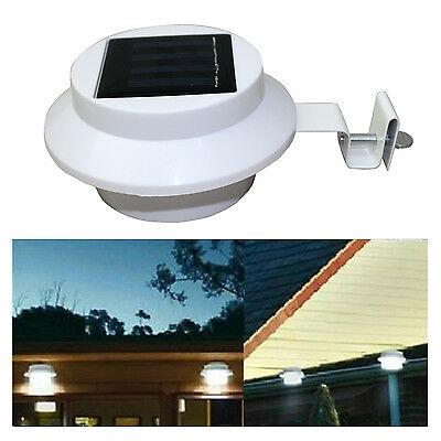 4 x White Solar Powered 3 LED Gutter Lights Outdoor Garden Wall Fence Lamp