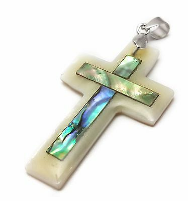Catholic Cross Pendant Mother Of Pearl Shell Crucifix for Women & Men Jerusalem