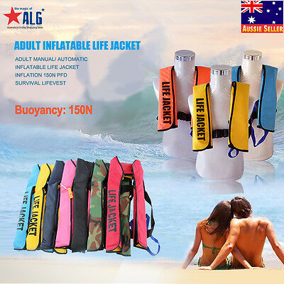 Adult Manual / Automatic Inflatable 150N Life Jacket  Aid Swimming Survival Vest