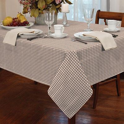 "Gingham Check Beige White Rectangular 54X72"" 137X183Cm Table Cloth"
