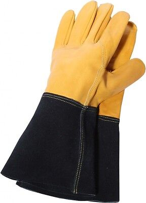Town & Country Tough Suede Leather Heavy Gauntlet Gardening Gloves Women Size M