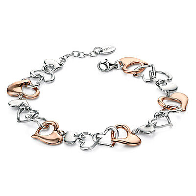 Fiorelli Silver and Rose Gold Heart Ladies Bracelet B4537