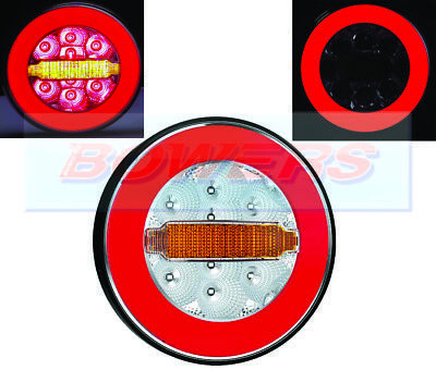 12V/24V Glow Ring Led Rear Round Hamburger Tail Lamp Light Truck Van Trailer