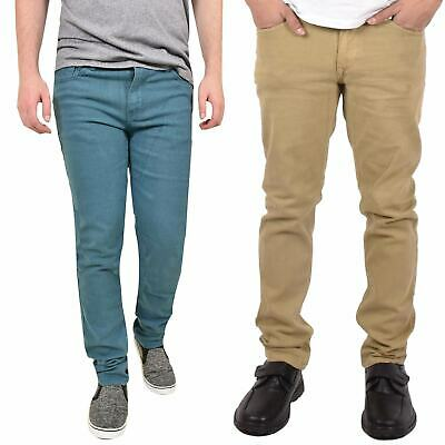 Mens Carbon Skinny Slim Fit Stretch Denim Basic 5 Pocket Jeans Pants Trouser