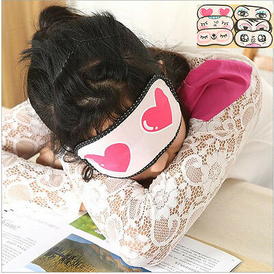Hot 1PC Cute Eye Mask Blindfold Shade Travel Sleeping Aid To Shield The Light