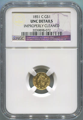 1851 C $1 One Dollar Gold. NGC Unc Details. Rare.