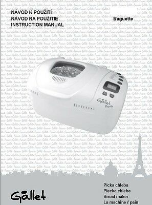 Gallet Bread Machine Manual MAP201, MAP205