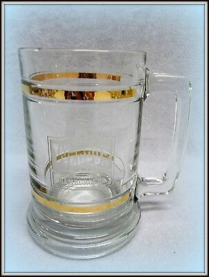 Rare Vtg Wendy's Old Fashioned Hamburger Restaurant Cut Glass Gold Trimmed  Mu