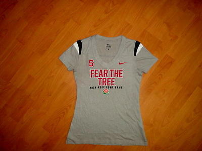Stanford Cardinal Nike Football V-Neck * Fear The Tree * T-Shirt Womens Small