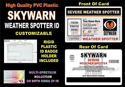 SKYWARN Weather Spotter ID Badge   CUSTOM WITH YOUR PHOTO & INFO   Holographic