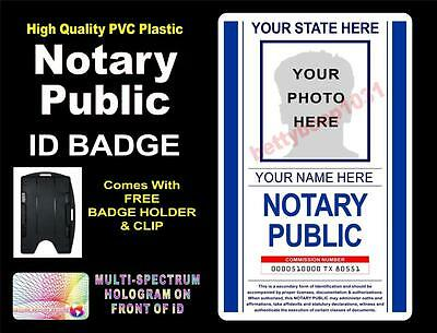 NOTARY PUBLIC ID Badge / Card (PVC)  CUSTOM W YOUR PHOTO & INFO  Holographic USA