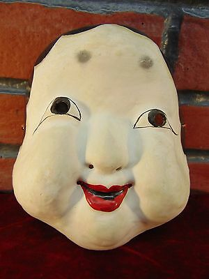 Authentic OKAME Japanese NOH MASK Otafuku HAPPY GOOD LUCK LADY Mirth Goddess ART