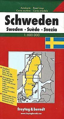 Map of Sweden, by Freytag & Berndt, with Stockholm, Malmo, Goteborg (2008)