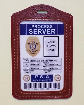 Process Server ID Badge  CUSTOMIZE WITH YOUR PHOTO & INFO   W/ Badge Holder