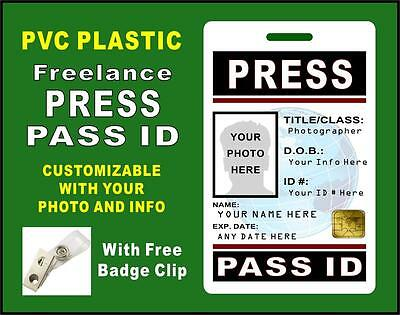 Press Pass ID Badge (FREELANCE) >>CUSTOM W/ YOUR PHOTO & INFO<< PVC - Style #3