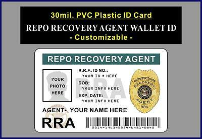 Repo Recovery Agent Wallet ID   CUTOMIZE W YOUR PHOTO & INFO   PVC Plastic Card