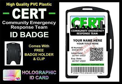CERT Community Emergency Response Team ID Badge / Card *CUSTOM W Your Name/Info*