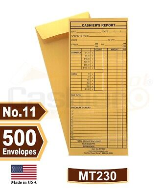 "Cashier's Report Envelopes - #11 4 1/8"" X 10 3/8"", Open End, 500/PK, Item# MT230"