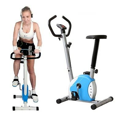 UPRIGHT STATIONARY BELT CARDIO EXERCISE BIKE BLUE  w/ LCD Display New Sealed