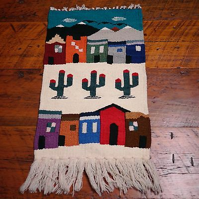 Vintage Southwestern Mexican Colorful 100% Wool Wall Hanging Small Rug
