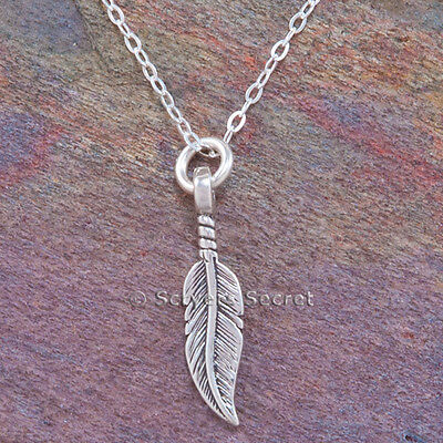 """925 Sterling Silver FEATHER 3d charm South Western Pendant 18/"""" Necklace small"""