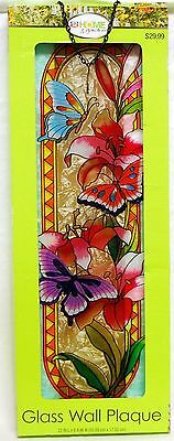 Home & Garden Stained Glass Wall Plaque Decoration Butterfly Flower Decor