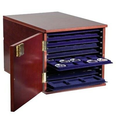 Coin tray cabinet for 10 L-sized TAB trays, mahogany-stained wood