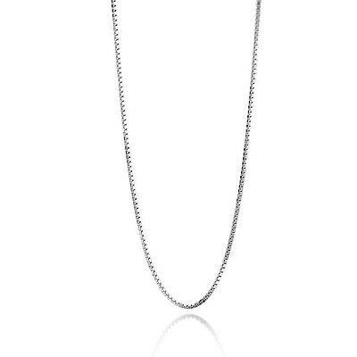 """Fashion 925 Sterling Silver 0.8mm Box Chain Italy Thin Necklace Women 14''-24"""""""