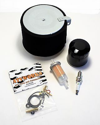 Kawasaki Mule 500 520 550 Tune Up Kit Oil Fuel Air Filter Spark Plug & Carb Kit