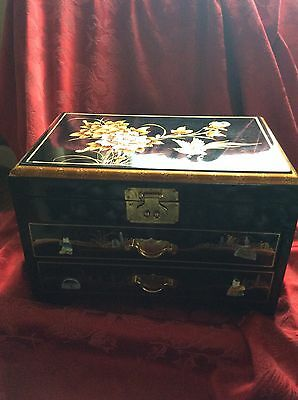 FLAWLESS Exquisite ASIAN MOTIF Black Lacquer JEWELRY BOX Mother Pearl Sculptures
