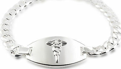 Sterling Silver Medic ID Alert  bracelet 8.5 inches Men / Women FREE ENGRAVING