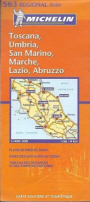 Michelin Map of Central Italy, Tuscany, Toscana, Umbria  #563 Italian Edition