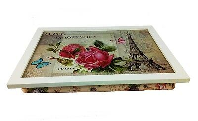 Knietablett LOVE PARIS Knietisch Laptop Notebook Tablett Kissen Landhaus Holz