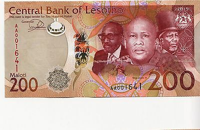 NEW Lesotho  200 Maloti Banknote UNC 2015 ( 2016)   redesign