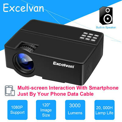 1080P HD Mini DLP Android 4.4 Wifi Projector 3000LM Full 3D Home Cinema 10000:1